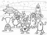 Coloring Ufo Cartoon Aliens Yayimages Terms sketch template