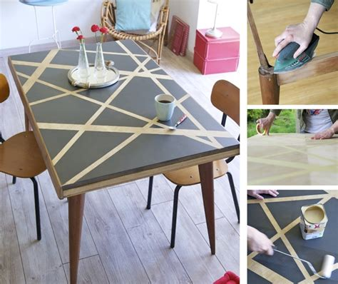 relooker table de cuisine relooker une table avec des effets graphiques diy