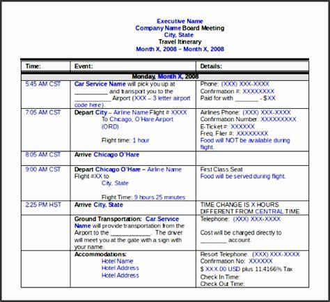 itinerary template sampletemplatess