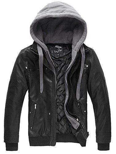 wantdo men s leather jacket with removable hood