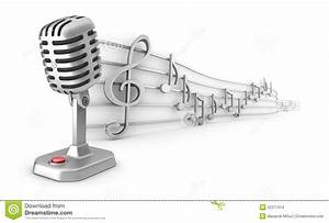 Microphone And Musical Notes Staff Set Stock Illustration ...