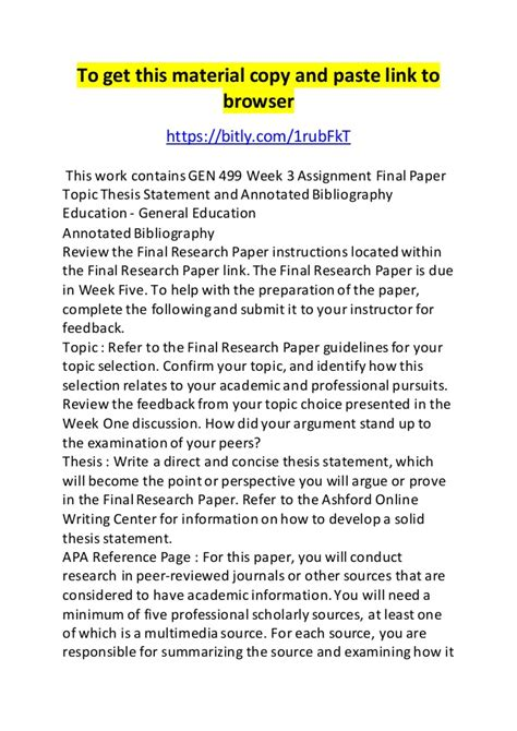 gen  week  assignment final paper topic thesis