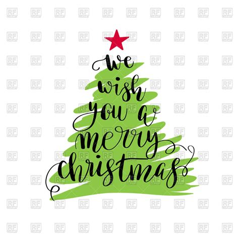 christmas tree with lettering quot we wish you a merry christmas quot vector image of holiday