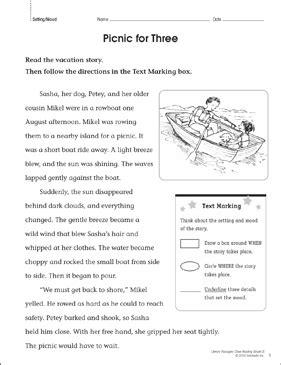 picnic   close reading passage printable lesson