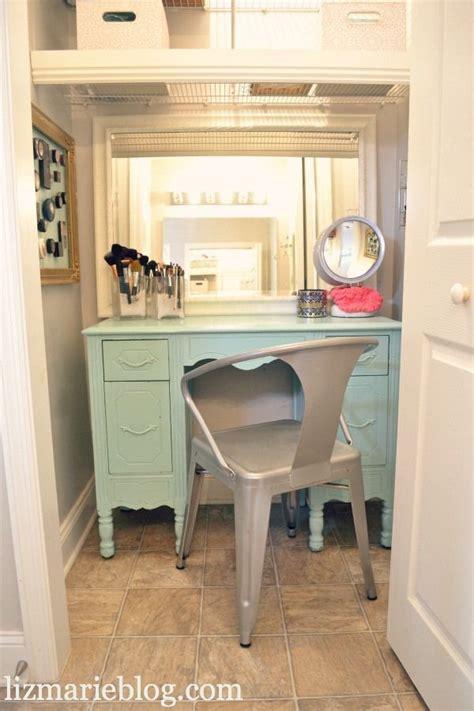 vanity in closet of master bath home