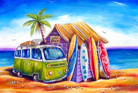 quot greenie surf shack quot painting art prints and posters by deborahbroughtonart artflakes com