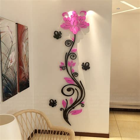rose flower vine wall stickers  crystal acrylic