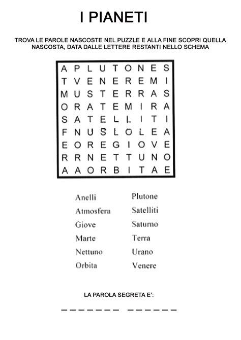 trova parole con lettere italiano cruciverba sistema solare cerca con scienze