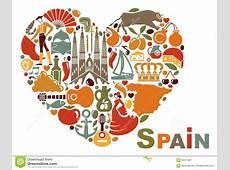 Os Símbolos Da Espanha Na Forma Do Coração Ilustração do