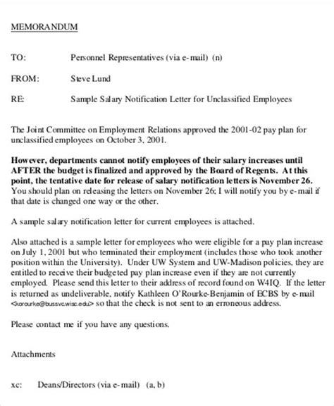 salary letter templates   sample  format