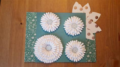 blume mit wattest 228 bchen basteln diy cotton buds flower