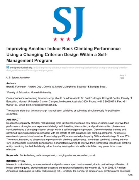 Pdf Improving Amateur Indoor Rock Climbing Performance