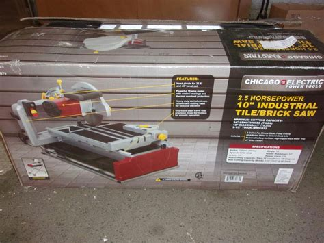 chicago electric 10 in 2 5 hp industrial tile brick saw 2 position 69275 ebay