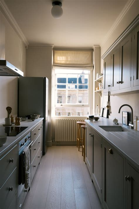 shaker galley kitchen  stylish small design  devol