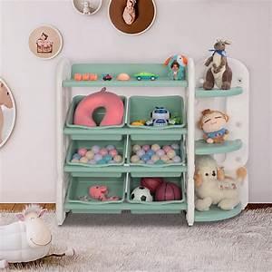 Joymor, Kids, Toy, Storage, Shelves, Box, With, Organizer, Corner, Rack, 6, Green, Plastic, Bins, For, Bedroom