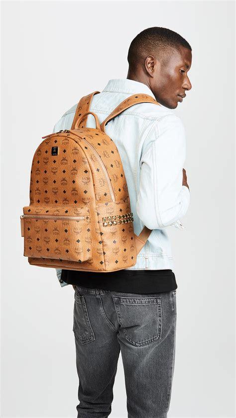 mcm stark medium side stud backpack  cognac brown  men lyst
