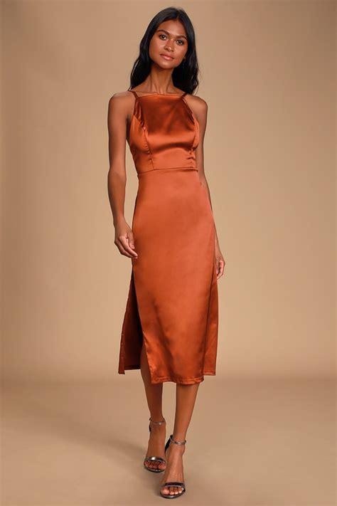 satin rust dress orange midi backless kaisley