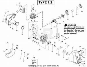 Poulan Fl26 Gas Trimmer Parts Diagram For Engine Type 1 2