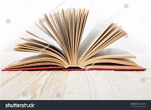 Open Book On Wooden Table Isolated Stock Photo 303209876 ...