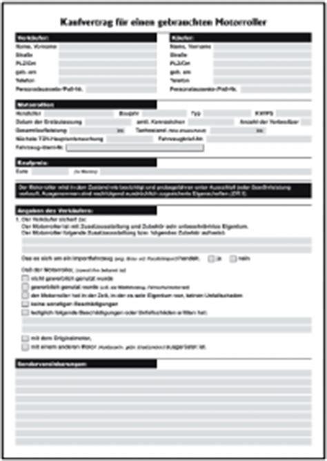kaufvertrag gebrauchter motorroller privat formulare