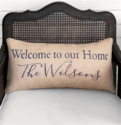 welcome to our home personalized family name pillow burlap