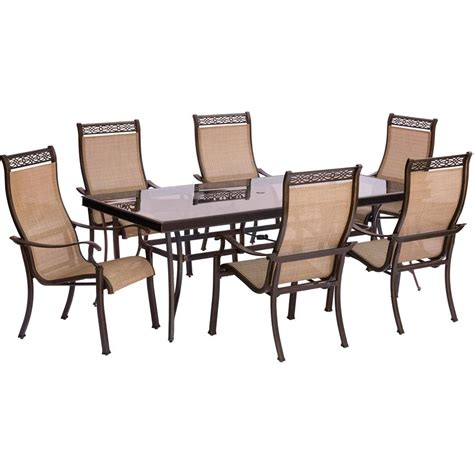outdoor rectangular table and chairs hanover monaco 7 piece aluminum outdoor dining set with