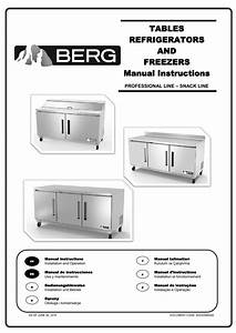 Tables Refrigerators And Freezers Manual Instructions