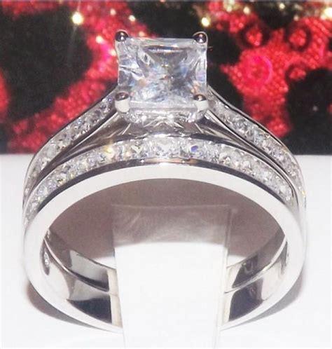 3 6ct princess cut wedding ring engagement ring wedding band simulated 925 platinum