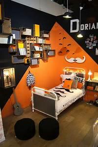 Lit Adolescent Garçon : chambre ado orange et gris ~ Dode.kayakingforconservation.com Idées de Décoration