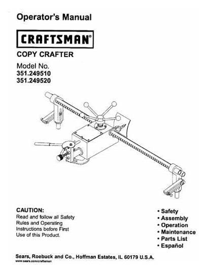 Lathe Craftsman Crafter Copy Sears Manual Seller