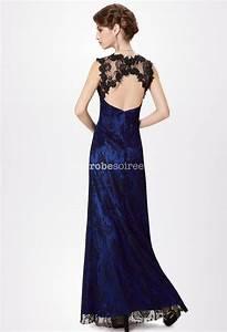 robe longue de satin bleu rehaussee de dentelle noire With robe longue dos nu dentelle