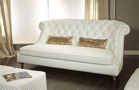 Aico Mia Bella Damario White Gold Leather Tufted Sofa Mb