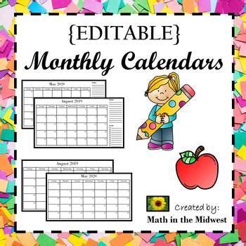 editable monthly calendars lifetime updates math