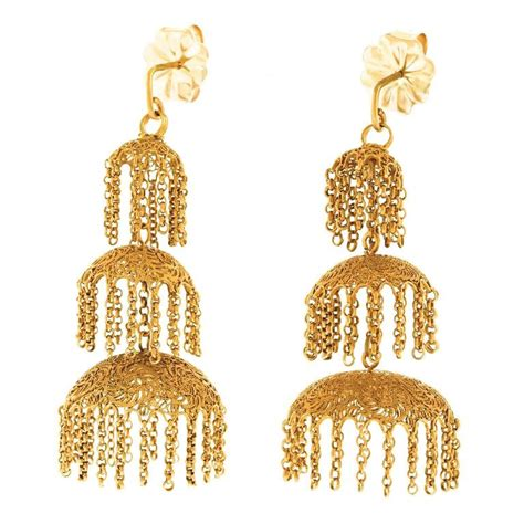 antique anglo indian gold chandelier earrings for sale at