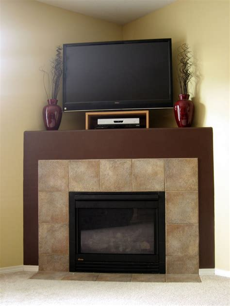 Corner Fireplace Designs With Tv Above Fire Place And