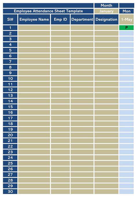 attendance sheet templates  students employees