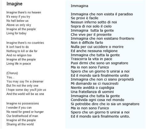 Testo Imagine Traduzione by Amici In Allegria Imagine Lennon