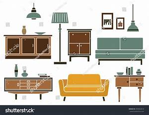 Furniture Interior Accessories Flat Style Wooden Stock ...