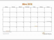 März 2016 Kalender mit Feiertagen
