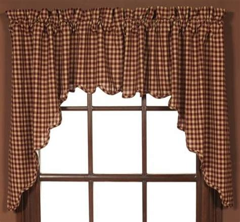 country valances  swags burgundy check swag set