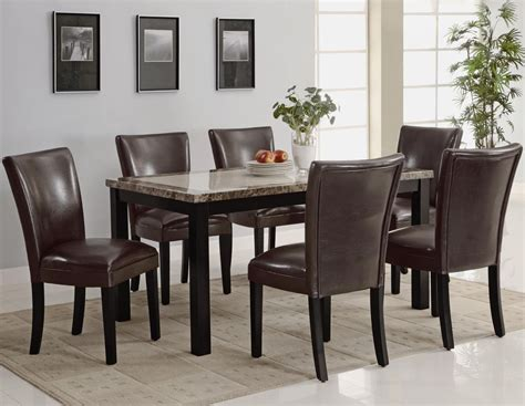 marble and wood dining table carter dark brown wood and marble dining table set steal