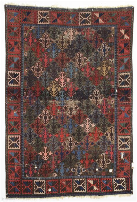 Antique Baluch Rug Interesting Design Turkish Knotted