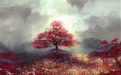 Fantasy Landscape Tree Landscapes Wallpapers Desktop Mobile