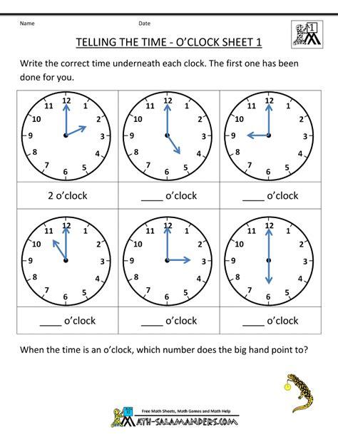 telling time worksheets oclock    children