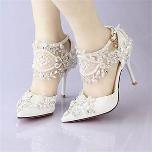 new lace flower bridal dress shoes pointed toe high heels With wedding dress heels
