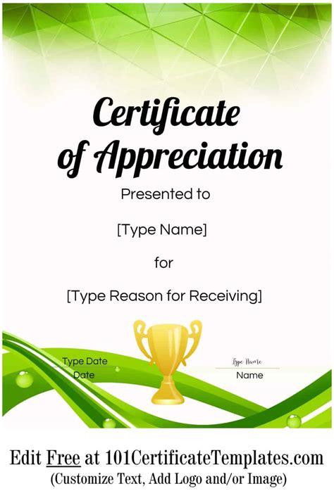 printable certificate  appreciation template