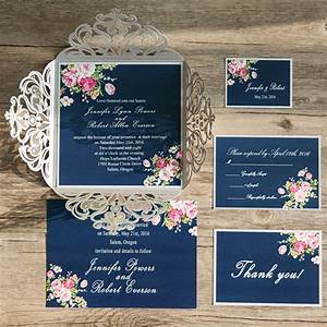 Navy blue floral silver laser cut invitations ewws090 as for Navy and silver wedding invitations uk