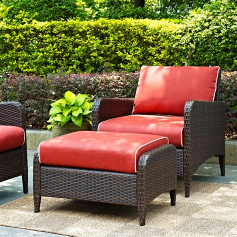 patio chair with ottoman crosley kiawah outdoor wicker club chair with ottoman