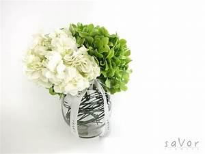 Green and White Hydrangeas in Vase