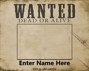 Wanted Dead Or Alive Poster Template Free by Free Wanted Powerpoint Template